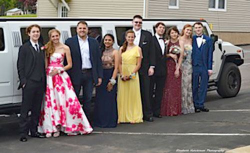 Prom Winners in Front of Limo